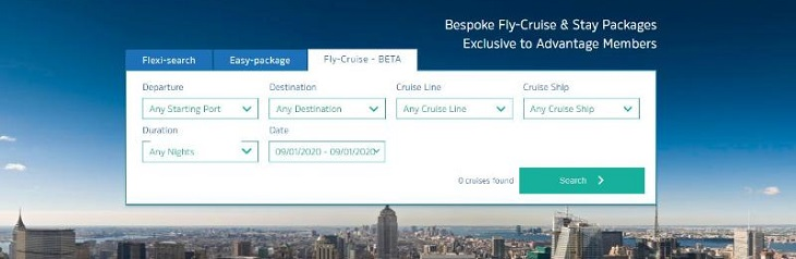 Advantage Holidays FlyCruise Stay homepage