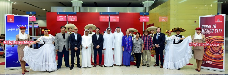 Emirates inaugural flight to Mexico takes off
