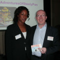 Gail Beckford from Travel Counsellors looks forward to spending her £25 Love2Shop voucher, courtesy of Simon Garrido from Cosmos Holidays.