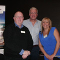 Getting acquainted are, from the left: Tony Byrne, Great Rail Journeys; Guy Widman, Journey The World; and Jayne Chapman, Kwik Travel.