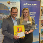 Stelios Constantinides Cyprus tourist office go bed the Fam trip place prize to Elinor Howells from Celtic Travel
