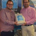 Peter Breeze wins a Greek goody bag from Kiriakos Liolios Greek National Tourist board