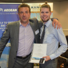 Curtis Evans ( Eastgate Travel) wins a hotel stay from Simon Eddolls on behalf of Eagles palace
