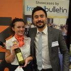 Bingo wine- Alice Baron from Thomas Cook Co-Operative Travel with Matt Gill from Travel Bulletin