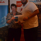 Lesley Pearce from Global Vacations wins a £250 gift voucher from Excite holidays and Adrian Marpole