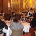 Attendees enjoying food
